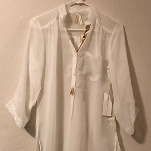 White Sheer Tunic Shirt with Gold Accent